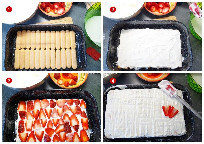 Rezept für leckeres Löffelbiskuit Kkuchen mit Erdbeeren