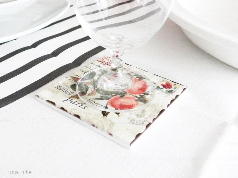 Glasuntersetzer Rosen Vintage Landdeko