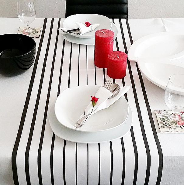 Tischdekoration Black White