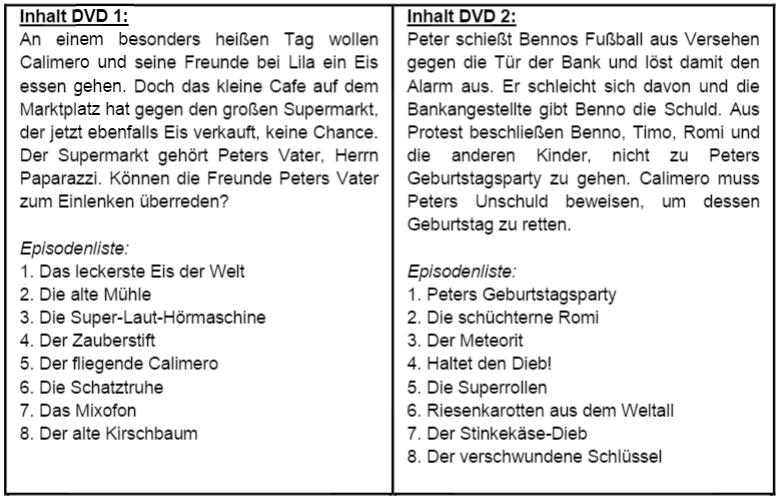 Calimero DVD Inhalt