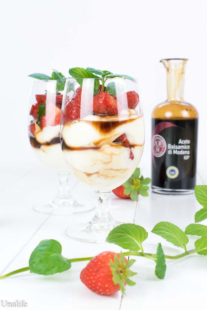 marinierte Erdbeeren in Mascarpone
