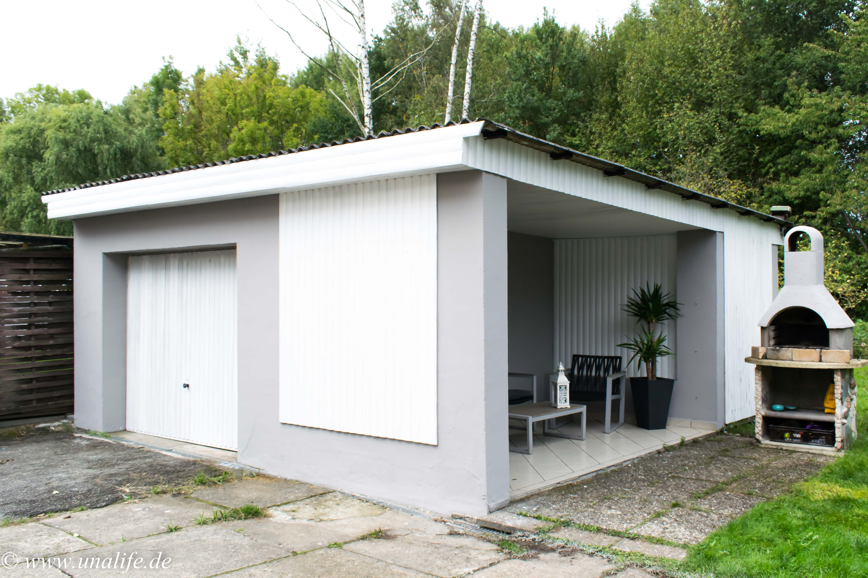 Gartenhaus Grau Weiß