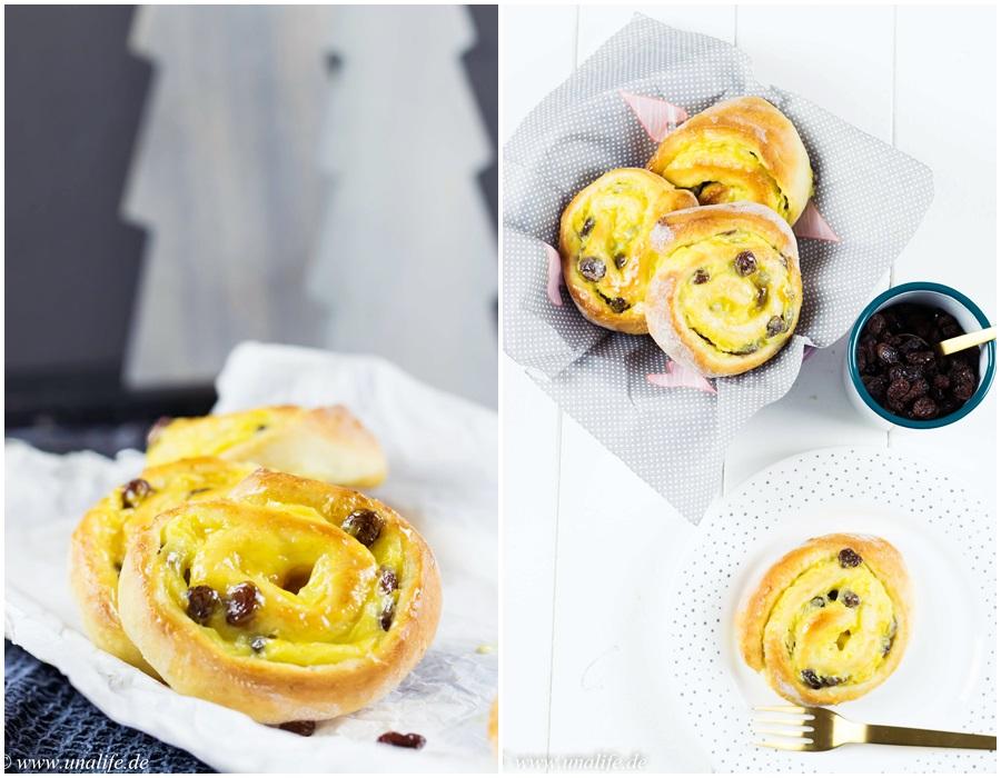 Rosinenschnecken mit Pudding