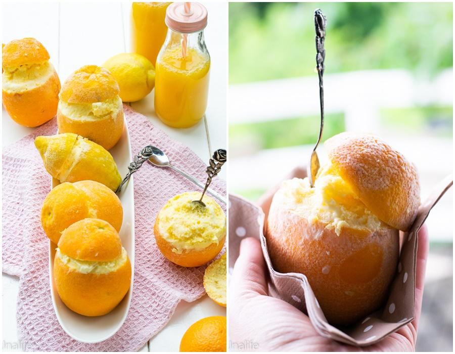 Eis in Orangen