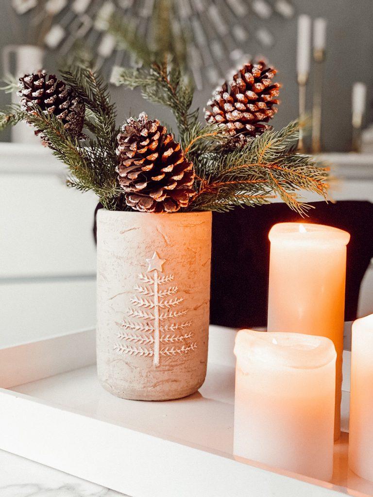 Zapfen in der Vase weihnachtsdeko